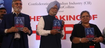 "New Delhi: Hero Group founder Sunil Kant Munjal with Former Prime Minister Manmohan Singh and Former Finance Minister Late Arun Jaitley's wife Sangeeta Jaitley at the launch of his book ""The Making of Hero"", in New Delhi on Jan 13, 2020. (Photo: IANS)"
