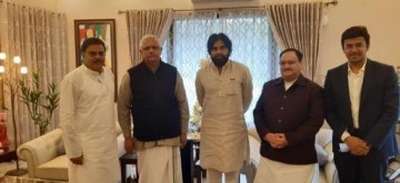 New Delhi: Actor and Jana Sena Party chief Pawan Kalyan accompanied by BJP MP Tejasvi Surya and party General Secretary B.L. Santhosh, meets BJP National Working President JP Nadda, in New Delhi on Jan 13, 2020. (Photo: IANS)