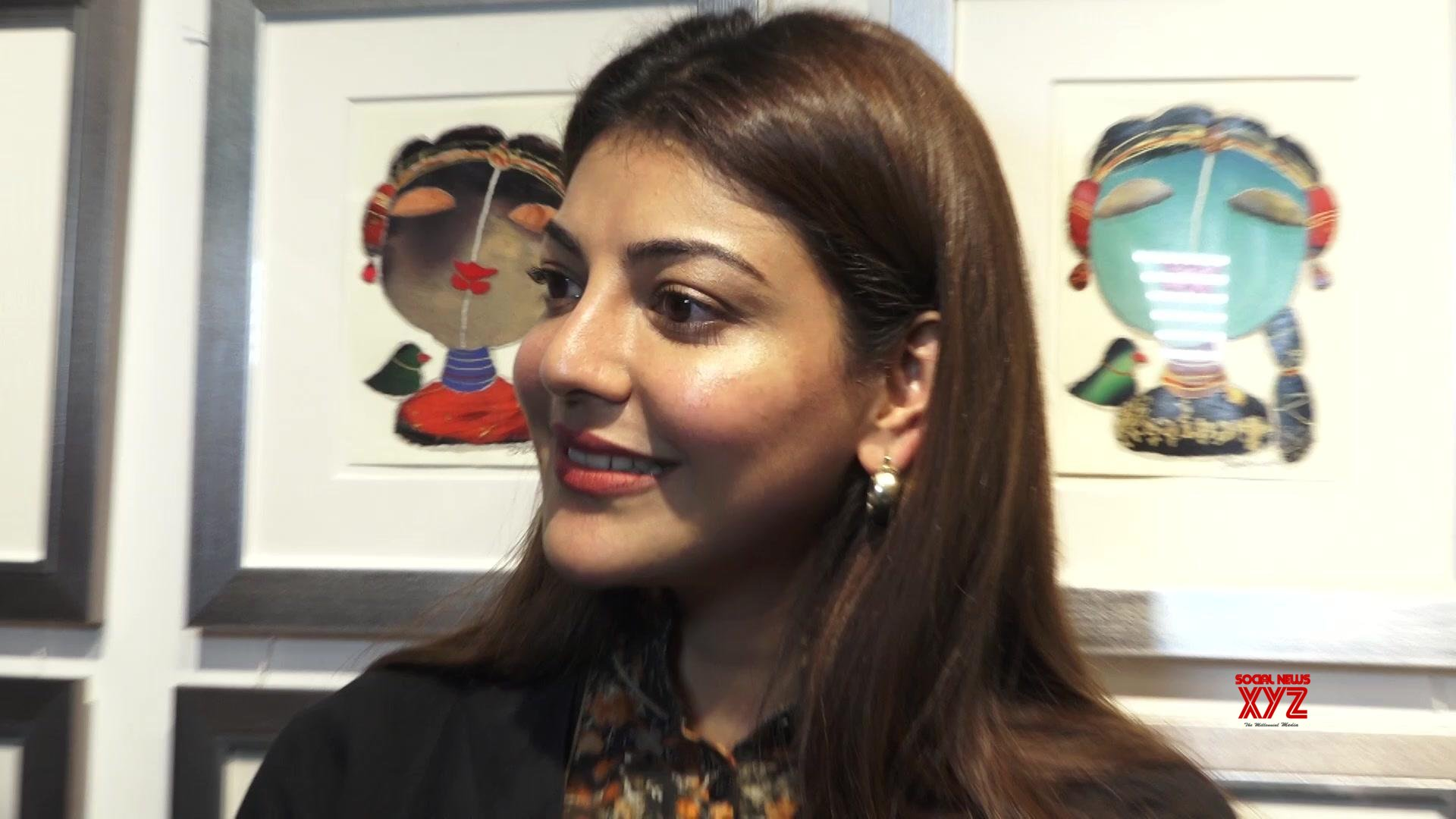 Kajal Aggarwal Stills From Studio 3 Art Gallery's Divine Intervention Soulful Narratives By World Renowned Artist G Subramanian And P Gnana