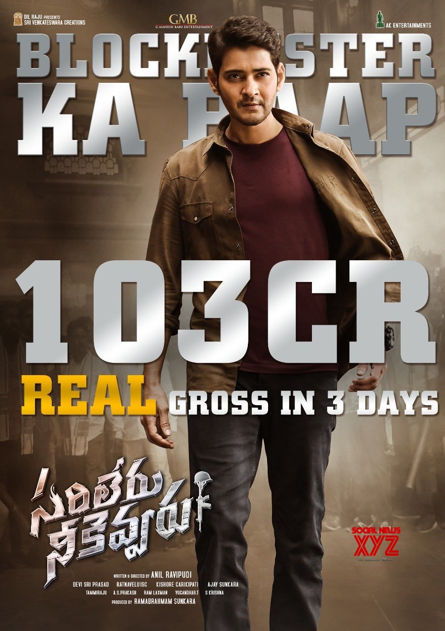 Mahesh Babu's Sarileru Neekevvaru grossed 102.3cr Worldwide with a share of 64.1cr in 3 Days