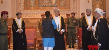 Muscat: Union Minority Affairs Minister Mukhtar Abbas Naqvi meets Oman's new Sultan HM Sayyid Haitham bin Tariq al Said in Muscat, on Jan 14, 2020. Naqwi conveyed his condolences on passing away of Former Oman Sultan Qaboos bin Said al Said on behalf of President of India Ramnath Kovind, Prime Minister Narendra Modi and people of India. He also also handed over a personal letter from Prime Minister Narendra Modi. (Photo: IANS)