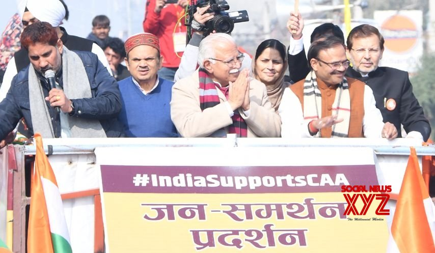 Panipat: Haryana CM holds 'Jan Samarthan Pradarshan' in support of CAA #Gallery