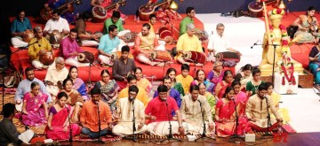 Mumbai: Musicians perform Thyagaraja Music Festival in Mumbai on Jan 15, 2020. Around 75 musicians playing instruments like, Mrudangam, Veena, Violin, Gatam besides singers rendering in unison the Pancharatna Kritis (Five Gems) of Saint Thyagaraja, before nearly 2000 music lovers as the entire Shanmukhananda Chandrasekharendra Saraswati Auditorium reverberated with the tunes in the ragas Nattai, Gowlai, Arabhi, Varali and Sri  to mark the 173rd Aaradhana (Samadhi) of the Saint Thyagaraja. (Photo: IANS)