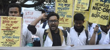 Kolkata: Medical students participate in a protest rally against the Citizenship Amendment Act (CAA) 2019 and the National Register of Citizens (NRC), in Kolkata on Jan 21, 2020. (Photo: IANS)