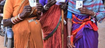 Hyderabad: Senior citizens show their Voter IDs as they arrive at a polling station to cast their votes for Telangana municipal elections, in Hyderabad on Jan 22, 2020. The polling began at 7 a.m. in 120 municipalities and nine municipal corporations across the state and it will continue till 5 p.m. (Photo: IANS)
