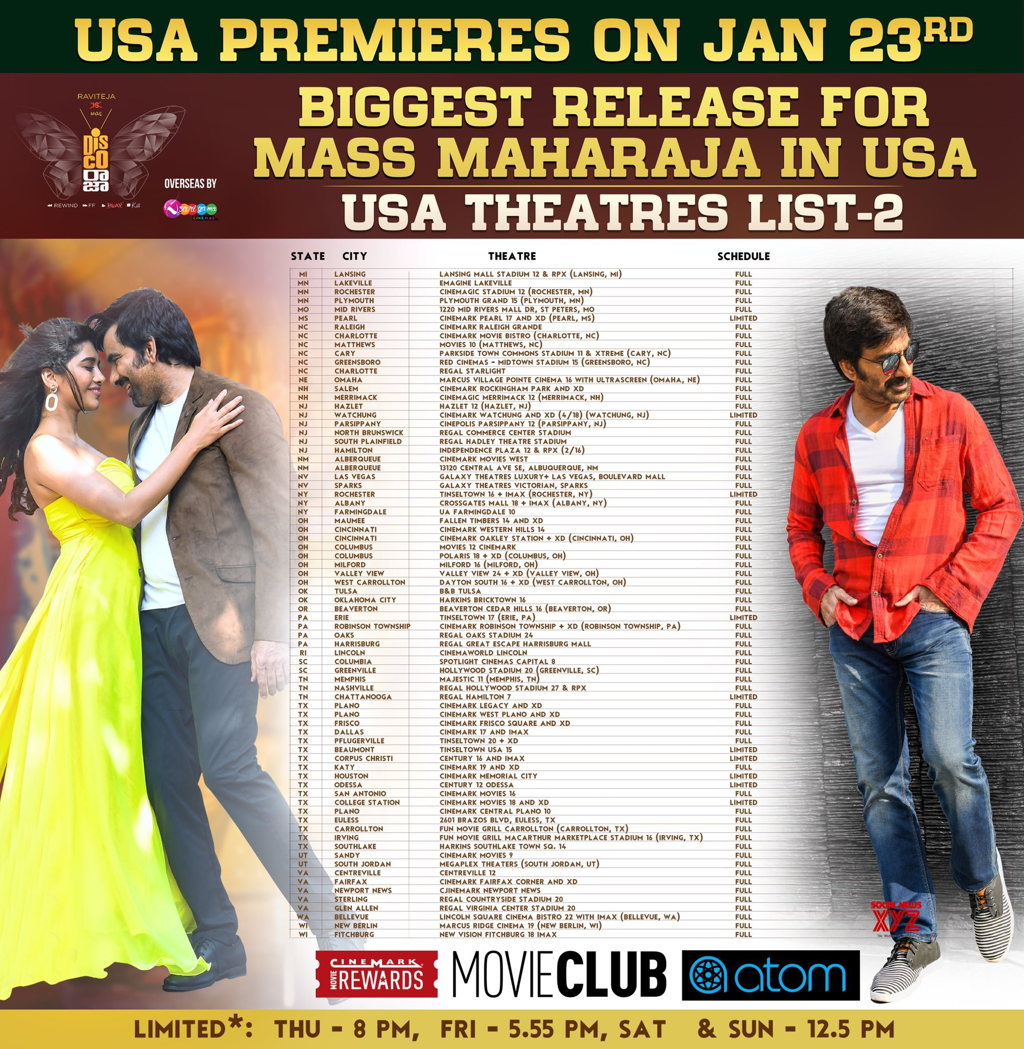 Ravi Teja's Disco Raja Movie Usa Theaters List Posters