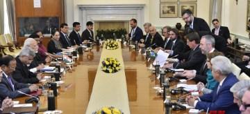 New Delhi: Prime Minister Narendra Modi and Brazilian President Jair Bolsonaro during delegation level talks at Hyderabad House in New Delhi on Jan 25, 2020. (Photo: IANS/MEA)