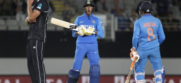 Auckland: India's Ravindra Jadeja and Navdeep Saini in action during the 2nd ODI of the three-match series between India and New Zealand at the Eden Park in Auckland,New Zealand on Feb 8, 2020.  (Photo: Surjeet Yadav/IANS)