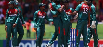 Potchefstroom: Bangladesh players celebrate the dismissal of DC Jurel during the ICC U19 World Cup final between India and Bangladesh, in Potchefstroom, South Africa on Feb 9, 2020. (Photo: Twitter/@ICC)