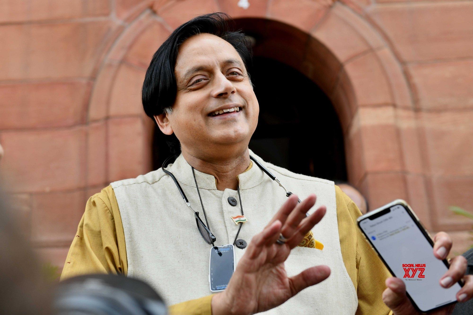 New Delhi: Budget Session - Shashi Tharoor at Parliament #Gallery