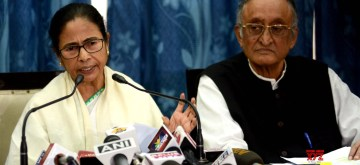 Kolkata: West Bengal Chief Minister Mamata Banerjee accompanied by Finance Minister Amit Mitra, addresses a press conference post the presentation of the State Budget for the fiscal year 2020- 21 in the state assembly, in Kolkata on Feb 10, 2020. (Photo: IANS)