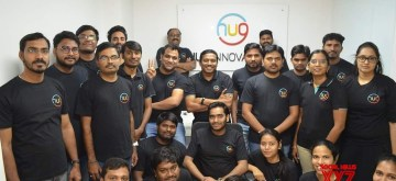 Bengaluru: Hyderabad-based wearables and IoT platform startup HUG Innovations founder Raj Neravati with his team members at a programme where Titan announced acquiring the startup, in Bengaluru on Dec 11, 2020. (Photo: IANS)