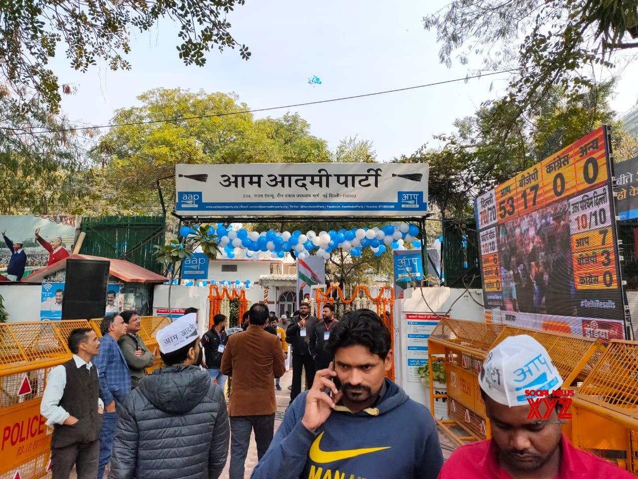 New Delhi: AAP Delhi office gears up for celebrations #Gallery