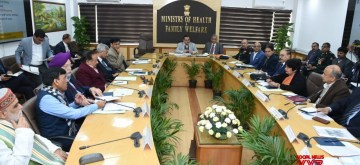 New Delhi: Union Ministers Harsh Vardhan, Hardeep Singh Puri, Ashwini Kumar Choubey and External Affairs Minister S Jaishankar during the meeting of High level Group of Ministers (GoM) to reviews current status, and actions for prevention and management of Novel Coronavirus in New Delhi on Feb 13, 2020. (Photo: IANS/PIB)