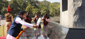 New Delhi: Union MoS Home Affairs G. Kishan Reddy pays homage to the martyrs of the Pulwama attack at National Police Memorial in New Delhi on Feb 14, 2020. (Photo: IANS/PIB)