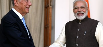 New Delhi: Prime Minister Narendra Modi receives Portuguese President Marcelo Rebelo De Sousa at Hyderabad House ahead of delegation-level talks, in New Delhi on Feb 14, 2020. (Photo: IANS)