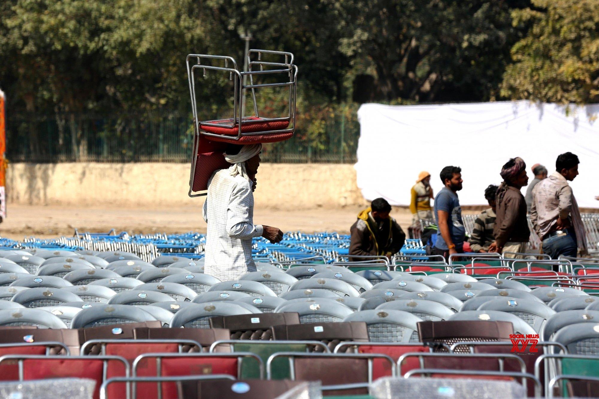 New Delhi: Preparations for Kejriwal's wearing - in ceremony underway at Ramlila Ground (Batch - 2) #Gallery