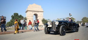New Delhi: 21 Gun Salute International Vintage Car rally underway at India Gate in New Delhi on Feb 15, 2020. (Photo: IANS)