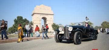 New Delhi: 21 Gun Salute International Vintage Car rally underway at India Gate in New Delhi on Feb 15, 2020. (Photo: IANS)