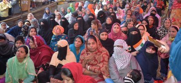 New Delhi: Muslim women stage a sit-in demonstration against the Citizenship Amendment Act (CAA), National Register of Citizens (NRC) and National Population Register (NPR) at Delhi's Shaheen Bagh on Feb 18, 2020. (Photo: IANS)