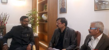 New Delhi: IANS Executive Editor Deepak Sharma and Parmod Jha with Union minister and Lok Janshakti Party chief Ram Vilas Paswan during an exclusive interview with IANS, in New Delhi on Feb 21, 2020. (Photo: IANS)