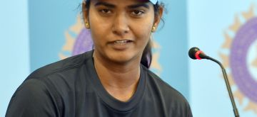 Bengaluru: Indian women cricketer Shikha Pandey addresses a press conference ahead of their 1st test match against New Zealand, in Bengaluru on June 25, 2015. (Photo: IANS)