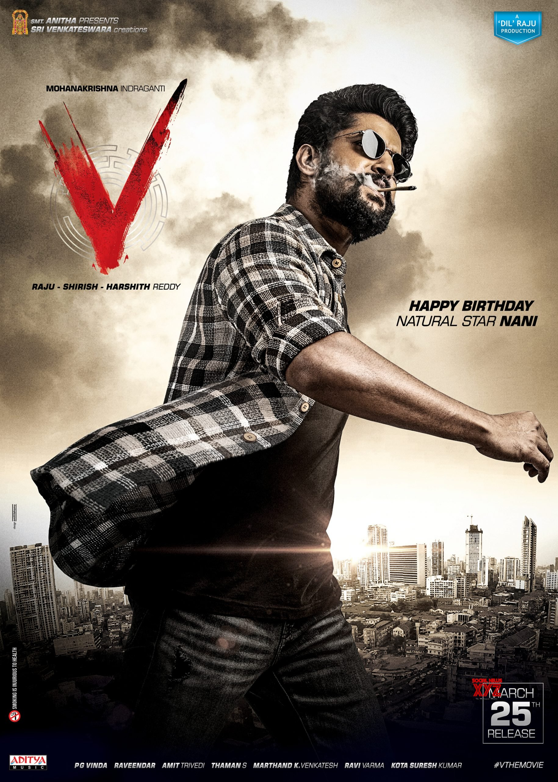 nani birthday hd poster and still from v movie social news xyz nani birthday hd poster and still from