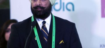 New Delhi: National Rifle Association of India president Raninder Singh addresses during the inauguration of the Asian Olympic Qualifying Tournament in New Delhi, on Jan 26, 2016. (Photo: IANS)