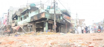 New Delhi: A view of the shops which were gutted during the riots in North East Delhi's Khajuri Khas on Feb 27, 2020. (Photo: IANS)