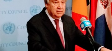 United Nations Secretary-General Antonio Guterres addresses a news conference at the UN in New York on Friday, February 28, 2020. (Photo: Arul Louis/IANS)