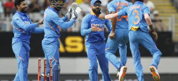 Auckland: Indian players celebrate the wicket of Martin Guptill during the 2nd ODI of the three-match series between India and New Zealand at the Eden Park in Auckland,New Zealand on Feb 8, 2020. (Photo: Surjeet Yadav/IANS)