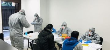 Medical team at work in the Embassy at Rome, Italy collecting samples of Indian nationals for testing COVID-19. (File Photo: IANS/MEA)