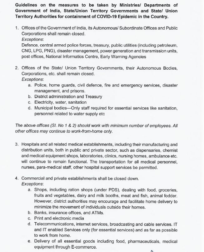 Here's The Guidelines For The 21 Day Lockdown The List Of Essential Services That Will Remain Open