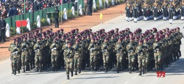 New Delhi: The Para Special Forces contingent, the special operations unit of the Indian Army, marches at Rajpath during full dress rehearsals ahead of the Republic Day parade 2020, in New Delhi on Jan 23, 2020. (Photo: IANS)