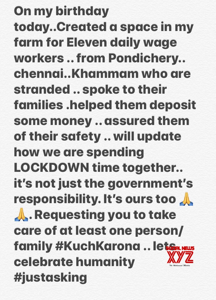 Prakash Raj Gives Shelter To 11 Stranded Workers From Pondichery, Chennai, Khammam Due To COVID 10 Lockout In His Farmhouse