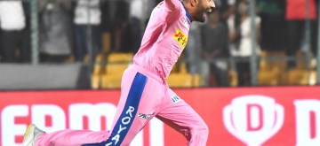 Bengaluru: Rajasthan Royals' Shreyas Gopal celebrates fall of Marcus Stoinis' wicket during the 49th match of IPL 2019 between Royal Challengers Bangalore and Rajasthan Royals at  M. Chinnaswamy Stadium in Bengaluru on April 30, 2019. (Photo: IANS)
