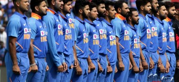 Chennai: Players of team India stand for their National Anthem ahead of the 1st ODI match between India and West Indies at MA Chidambaram Stadium in Chennai on Dec 15, 2019. (Photo: IANS)
