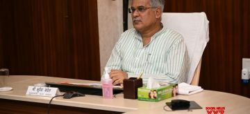 Chhattisgarh Chief Minister Bhupesh Baghel attends a video conference chaired by Prime Minister Narendra Modi with the Chief Ministers of all states.