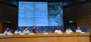 New Delhi: Union Finance and Corporate Affairs Minister Nirmala Sitharaman accompanied by Union MoS Finance and Corporate Affairs Anurag Thakur, holds the 5th press conference to announce the details of the Rs 20 lakh crore special economic package at the National Media Centre in New Delhi on May 17, 2020. (Photo: IANS)