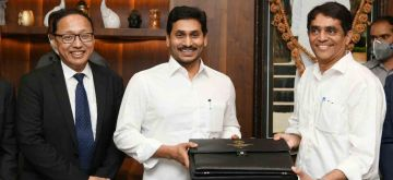 Amaravati: Andhra Pradesh Chief Minister YS Jagan Mohan Reddy and Finance Minister B. Rajendranath with the suitcase carrying Budget papers ahead of the presentation of the State Budget for 2020-21 in the State Legislative Assembly in Amaravati on June 16, 2020. Andhra Pradesh Legislature became the first state Assembly in the country to hold its sitting under the shadow of the COVID-19 pandemic as the Budget Session began on Tuesday amid unprecedented measures. (Photo: IANS)