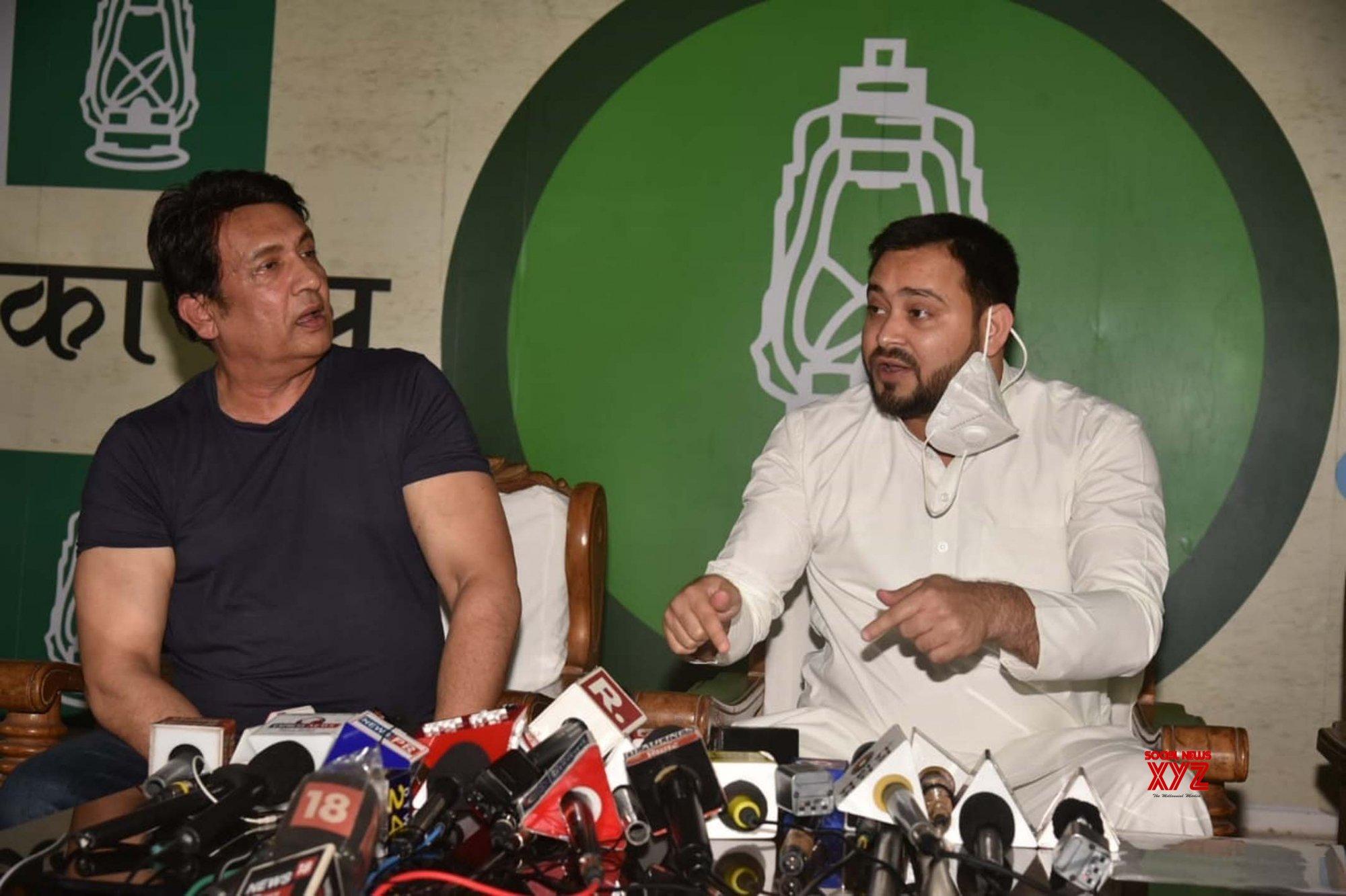 Patna: Shekhar Suman, Tejashwi Yadav's press conference #Gallery