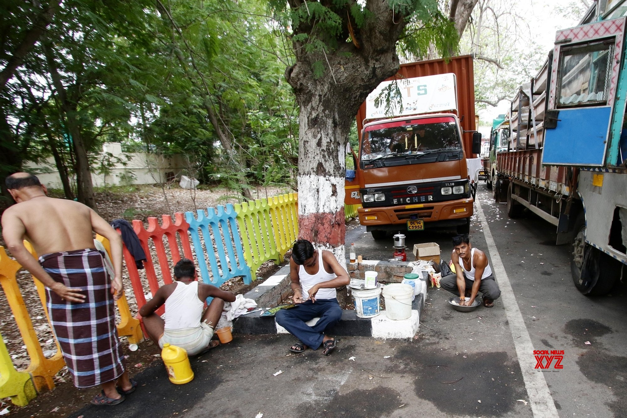 Chennai: Trucks left stranded during complete COVD - 19 lockdown in Chennai #Gallery