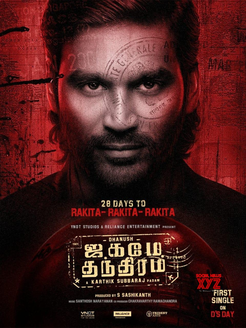 Dhanush's Jagame Thanthiram Movie First Single From July 28