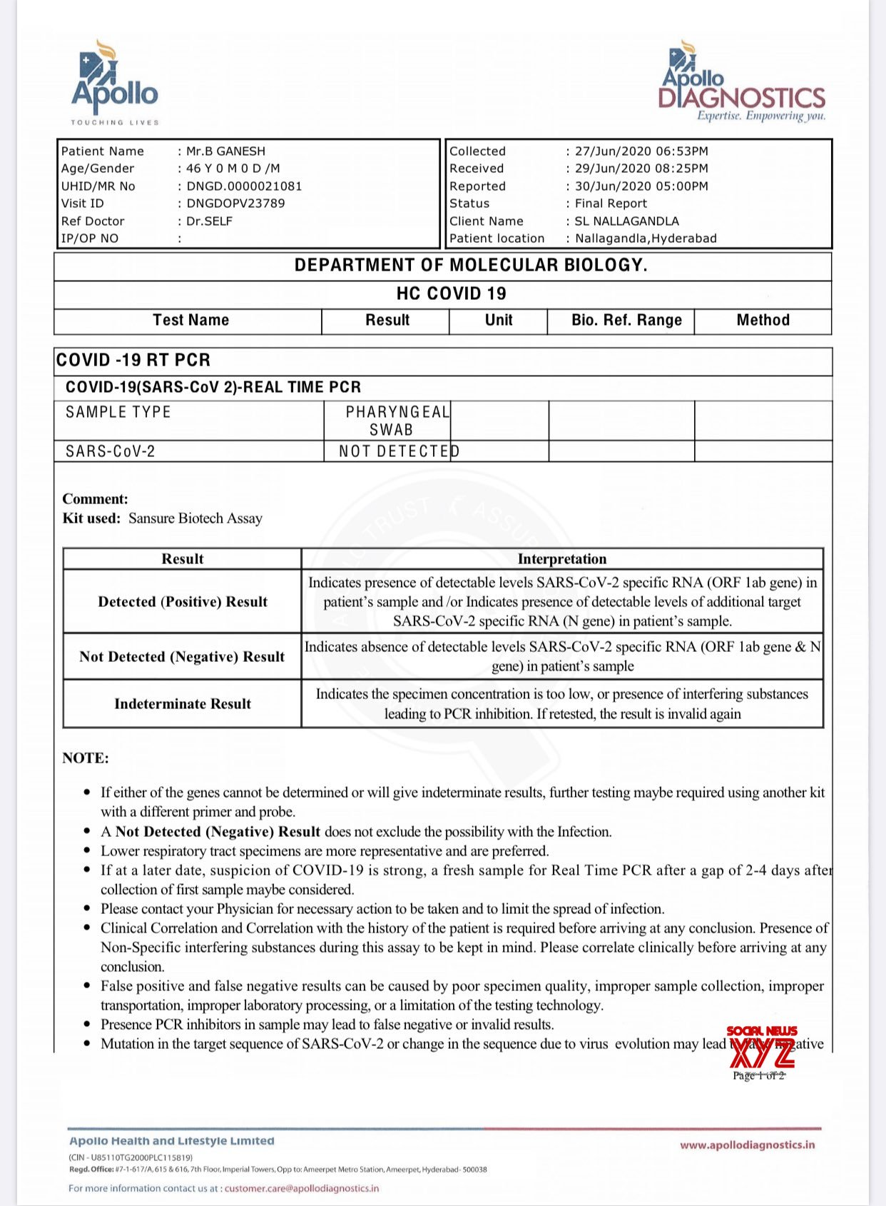 Producer And Actor Bandla Ganesh COVID - 19 Negative Test Certificate