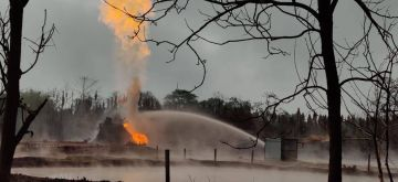 Tinsukia: Operations underway to put out the fire and cap the leaking Oil India Limited's (OIL) oil well in Baghjan in Tinsukia district of Assam on July 2, 2020. A massive fire broke out on June 9 at OIL's Baghjan oil well near the Dibru-Saikhowa National Park, that had been spewing natural gas and oil condensates uncontrollably since May 27. (Photo: IANS)