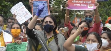 Kolkata : BJP's women activists led by party Mahila Morcha President Agnimitra Paul stage a demonstration against inflated power bills, in Kolkata on July 24, 2020. (Photo: IANS)