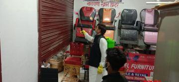 Patna: Rashtriya Lok Samta Party (RLSP) leader Baban Yadav conducts fogging and sanitisation across various localities of Patna amid COVID-19 lockdown imposed in the city in the wake of increasing coronavirus cases, on Aug 2, 2020. (Photo: IANS)