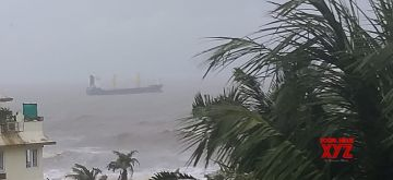 Mumbai: A dry bulk cargo ship apparently landed in troubled waters off Mumbai coast in the Arabian Sea off Raj Bhavan after the city was clobbered overnight with heavy rains, on Aug 4, 2020. The ship was noticed in the morning on Tuesday precariously close to the rocky shores by a defence expert living at Malabar Hill Sarosh Bana, who alerted the Indian Navy, Indian Coast Guard and other concerned officials. (Photo: IANS)
