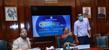 New Delhi: Union Finance and Corporate Affairs Minister Nirmala Sitharaman launched PSBs Doorstep Banking services and declared EASE 2.0 Index results, in New Delhi on Sep 9, 2020. (Photo: IANS/PIB)