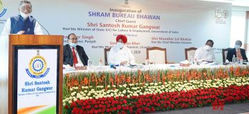 Chandigarh: Labour and Employment (Independent Charge), Shri Santosh Kumar Gangwar addressing at the inauguration of the newly constructed building of Shram Bureau Bhawan to mark the Centenary year of Labour Bureau, at Sector-38 West, Chandigarh on Sep 11, 2020. (Photo: IANS/PIB)